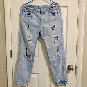Zara Ripped Washed-effect Boyfriend Jeans